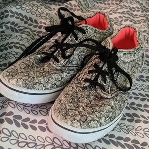 Vans Floral Black and White Sneakers